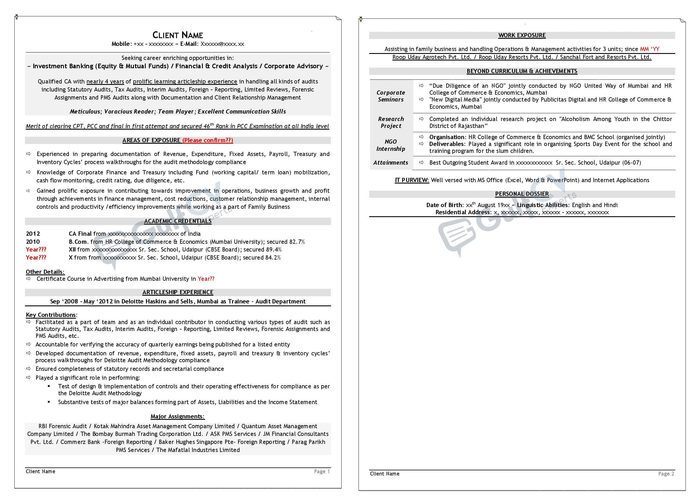 Entry level resume samples -- gulfcvexperts.com